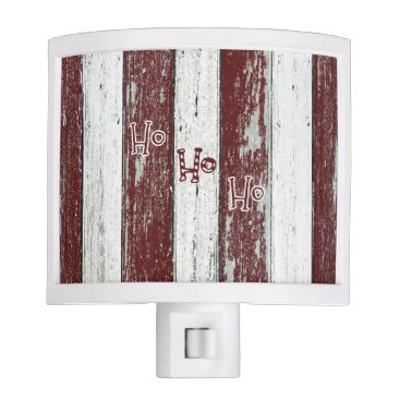 Beach Themed Rustic Red and White Striped Ho Ho Ho Night Light