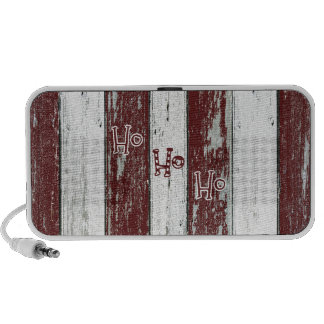 Rustic Red and White Striped Ho Ho Ho Speakers