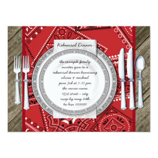 Rustic Red Bandana and Barn Wood Rehearsal Dinner Card
