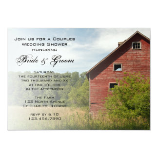 Rustic Red Barn Country Couples Wedding Shower Invitations