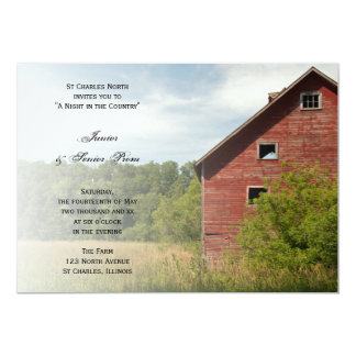 Rustic Red Barn Country Junior / Senior Prom Personalized Invites