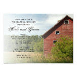"""Rustic Red Barn Country Rehearsal Dinner Invite 5"""" X 7"""" Invitation Card"""