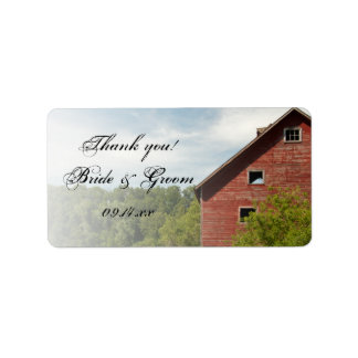 Rustic Red Barn Country Wedding Thank You Label