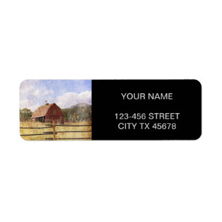 Rustic  Red Barn in Farm Field Return Address Label