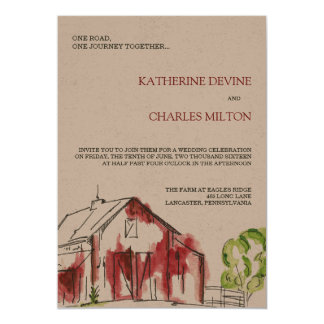 Rustic Red Barn Wedding Invitation