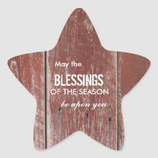 Rustic Red Barn Wood Holiday Greeting Star Sticker