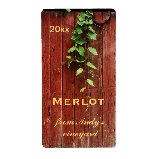 rustic red barn wooden planks with grapevine custom shipping labels