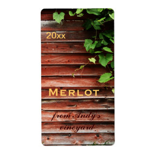 rustic red barn wooden planks with grapevine label
