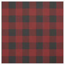 Rustic Red | Black Buffalo Check Plaid Pattern Fabric
