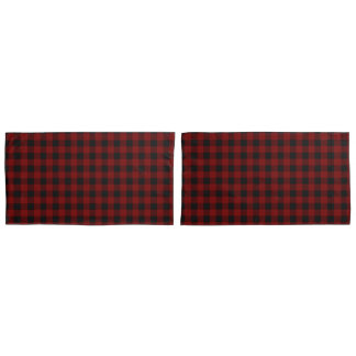 Rustic Red | Black Buffalo Check Plaid Pattern Pillow Case