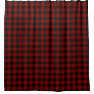 rustic red black buffalo check plaid pattern shower curtain