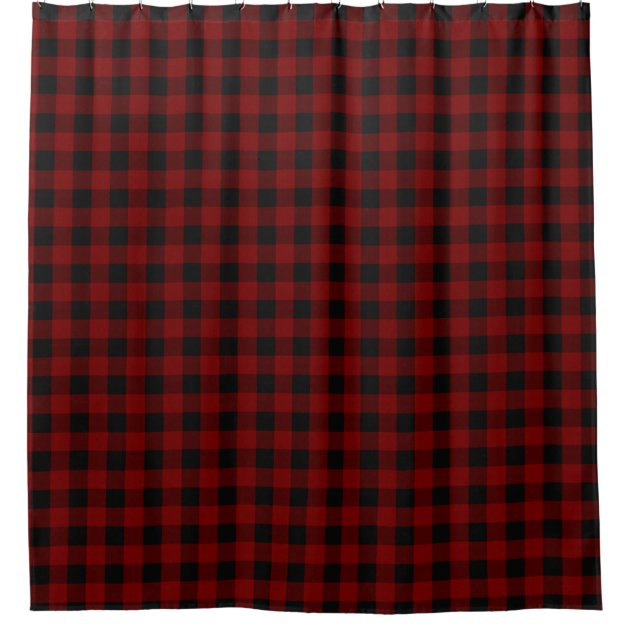 Rustic Red Black Buffalo Check Plaid Pattern Shower
