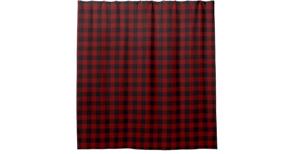 Rustic Red Black Buffalo Check Plaid Pattern Shower Curtain