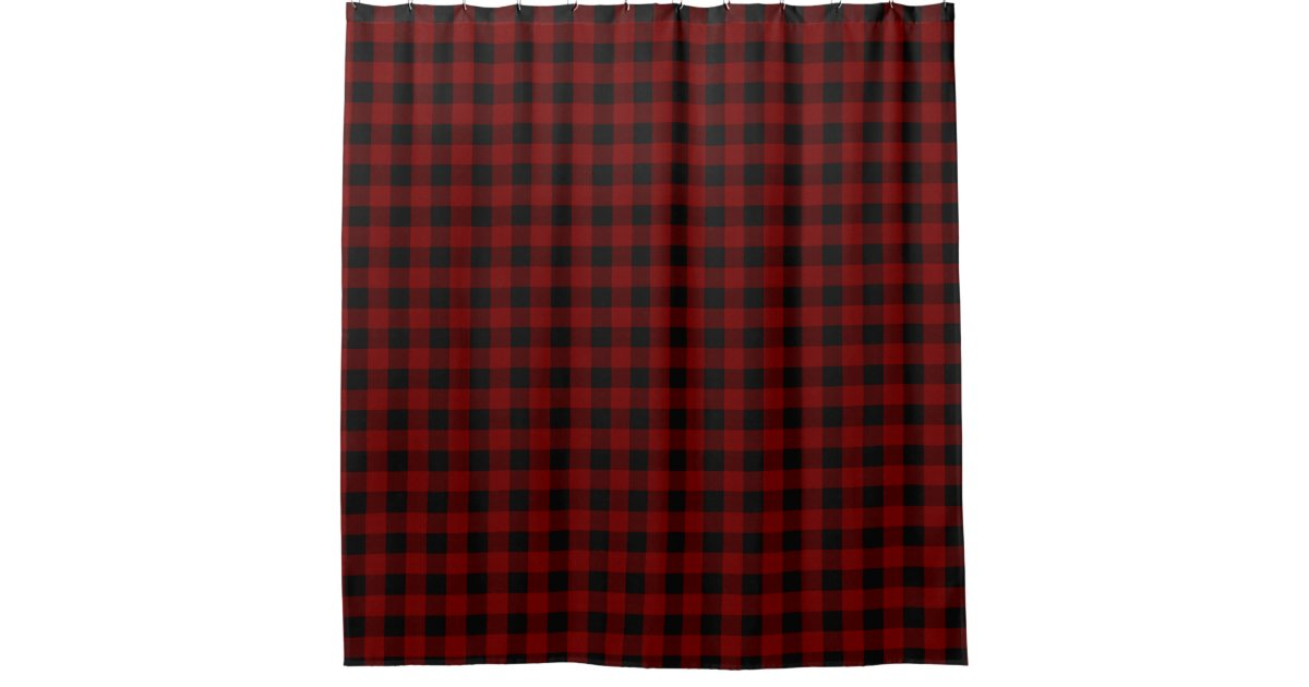 Rustic Red Black Buffalo Check Plaid Pattern Shower