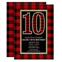 Rustic Red Black Buffalo Plaid 10th Birthday Party Card
