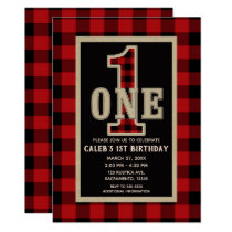 Rustic Red Black Buffalo Plaid 1st Birthday Party Card