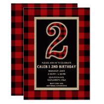 Rustic Red Black Buffalo Plaid 2nd Birthday Party Card