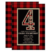 Rustic Red Black Buffalo Plaid 4th Birthday Party Card