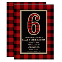 Rustic Red Black Buffalo Plaid 6th Birthday Party Card
