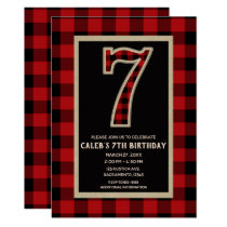 Rustic Red Black Buffalo Plaid 7th Birthday Party Card