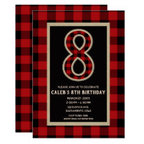 Rustic Red Black Buffalo Plaid 8th Birthday Party Card