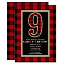 Rustic Red Black Buffalo Plaid 9th Birthday Party Card