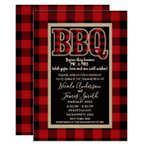 Rustic Red Black Buffalo Plaid BBQ Barbecue Card