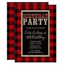 Rustic Red Black Buffalo Plaid Birthday Party Card
