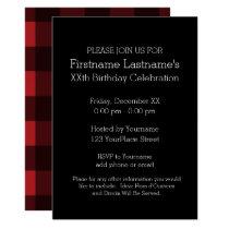 Rustic Red & Black Buffalo Plaid Birthday Party Card