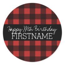Rustic Red & Black Buffalo Plaid Birthday Party Classic Round Sticker