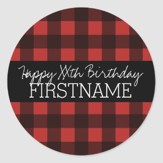 Rustic Red & Black Buffalo Plaid Birthday Party Classic Round Sticker