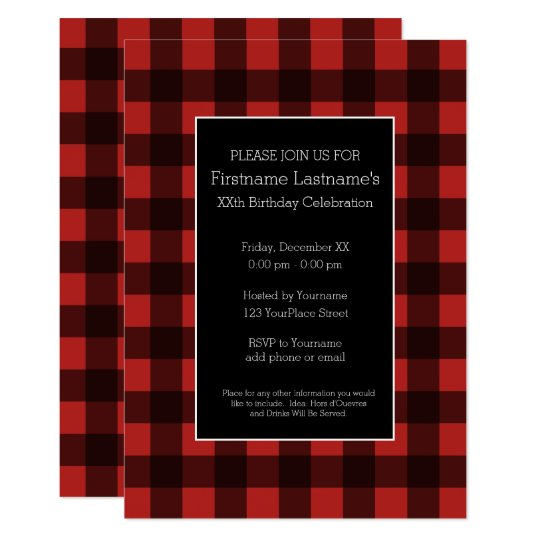 rustic red black buffalo plaid birthday party invitation zazzle com