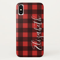 Rustic Red & Black Buffalo Plaid - CAN EDIT COLOR iPhone X Case