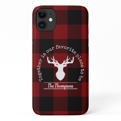 Rustic Red Black Buffalo Plaid Deer Family iPhone 11 Case