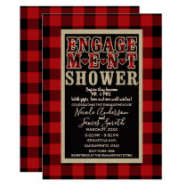 Rustic Red Black Buffalo Plaid Engagement Shower Card