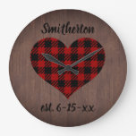 Rustic Red Black Buffalo Plaid Heart Brown Wood Large Clock