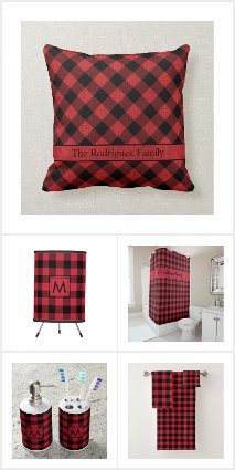 Rustic Red Black Buffalo Plaid Home Decor