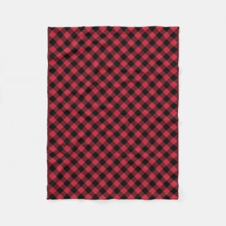Rustic Red Black Buffalo Plaid Lumberjack Pattern Fleece Blanket