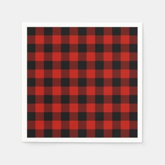 Rustic Red Black Buffalo Plaid Lumberjack Pattern Napkin