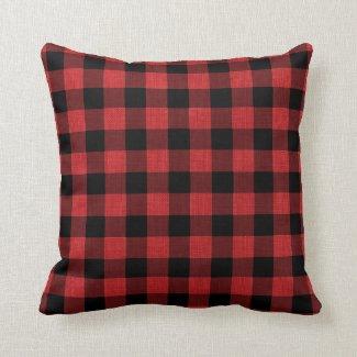 Rustic Red Black Buffalo Plaid Pattern Linen Photo Throw Pillow