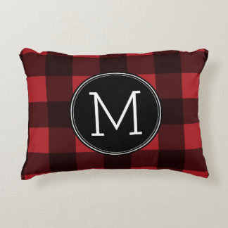Rustic Red & Black Buffalo Plaid Pattern Monogram Accent Pillow