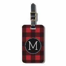 Rustic Red & Black Buffalo Plaid Pattern Monogram Bag Tag