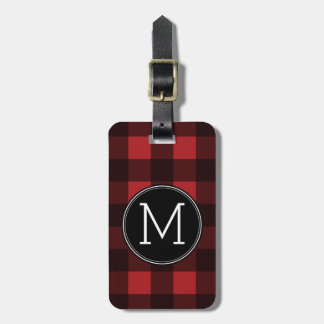 Rustic Red & Black Buffalo Plaid Pattern Monogram Bag Tag