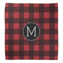 Rustic Red & Black Buffalo Plaid Pattern Monogram Bandana