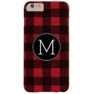 Rustic Red & Black Buffalo Plaid Pattern Monogram Barely There iPhone 6 Plus Case