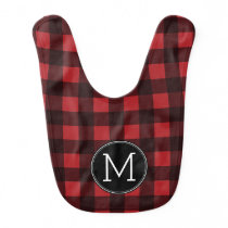 Rustic Red & Black Buffalo Plaid Pattern Monogram Bib