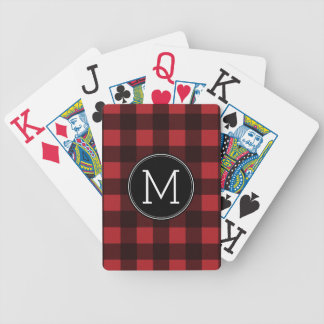 Rustic Red & Black Buffalo Plaid Pattern Monogram Bicycle Playing Cards