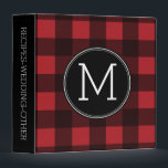 """Rustic Red &amp; Black Buffalo Plaid Pattern Monogram Binder<br><div class=""""desc"""">A rugged and masculine design with an area for monograms. A classic, traditional pattern that has been around for years. If you need to adjust the artwork or change the font, you can click on the customize area. This will take you to the design tool where you can make many...</div>"""