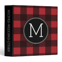 Rustic Red & Black Buffalo Plaid Pattern Monogram Binder