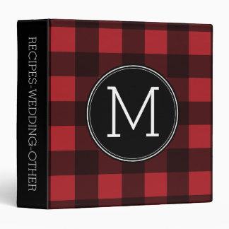 Rustic Red & Black Buffalo Plaid Pattern Monogram Binder